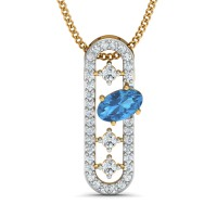 Gold Pendant 0.13 Ct Natural Certified Diamond Blue Topaz Everyday