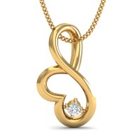 Gold Pendant Necklace 0.03 Ct Natural Certified Diamond Weekend