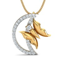 Gold Pendant 0.2 Ct Natural Certified Diamond Workwear