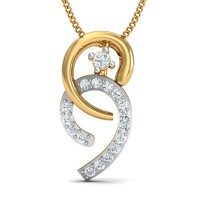 Gold Pendant Necklace 0.08 Ct Natural Certified Diamond Weekend