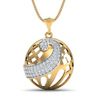 Gold Pendant 1.55 Ct Natural Certified Diamond Workwear
