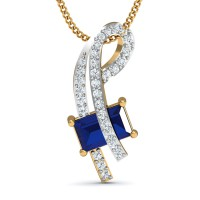 Diamond Pendant Necklace 0.3 Ct Natural Certified Solid Gold Blue Sapphire Party