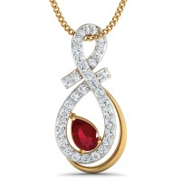 Diamond Pendant Charms 0.23 Ct Natural Certified Solid Gold Ruby Party