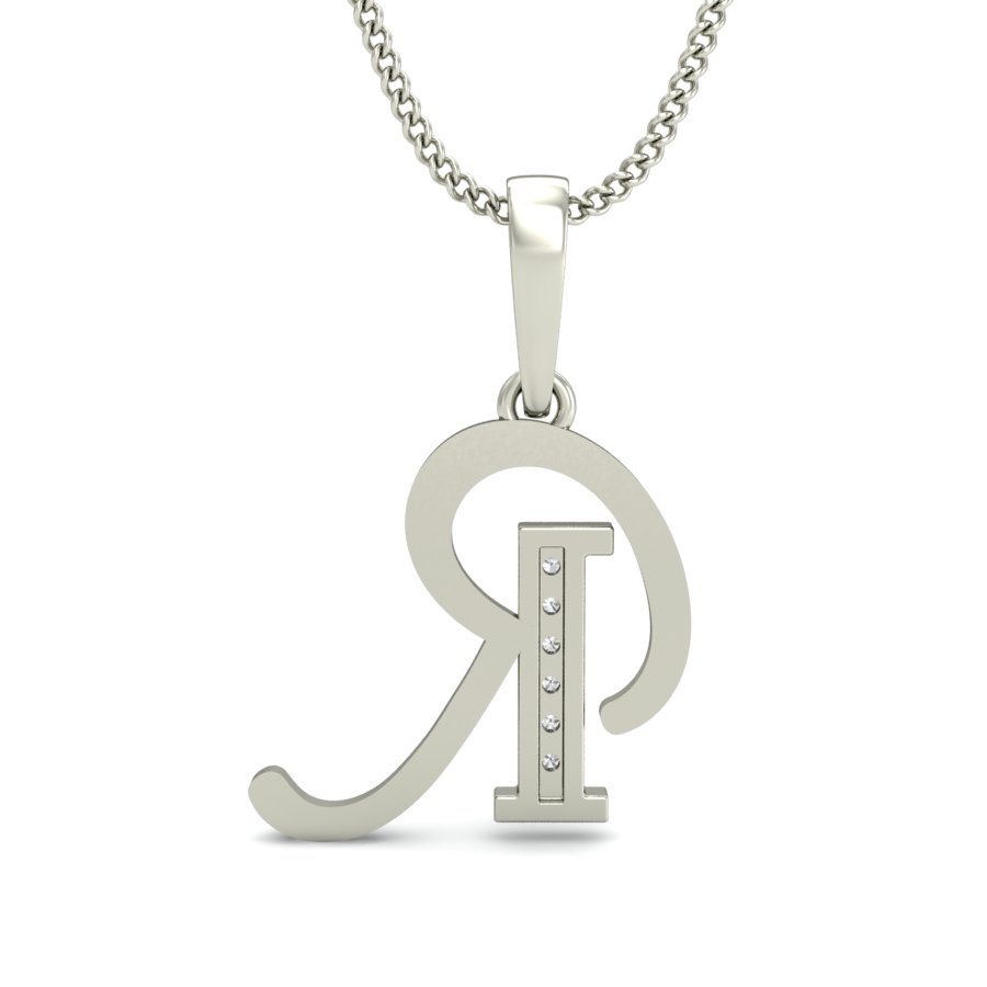 sterling script silver pendants necklace initial pendant
