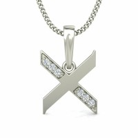 Initial Pendant necklace 0.04 ct Diamond Solid Gold Natural Certified