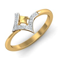 Gold Rings For Women 0.1 Ct Natural Certified Diamond Office Wear