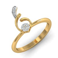 Diamond Ring Designs 0.09 Ct Natural Certified Solid Gold Festive
