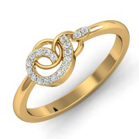 Diamond Gold Ring 0.1 Ct Natural Certified Workwear