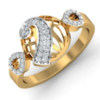 Gold Diamond Rings 0.25 Ct Natural Certified Office Wear