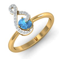 Gold Rings For Women 0.11 Ct Natural Certified Diamond Festive