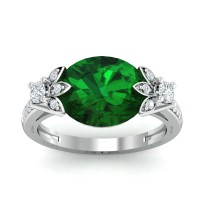 Diamond Emerald Rings 0.37 Ct Natural Certified Solid Gold Festive