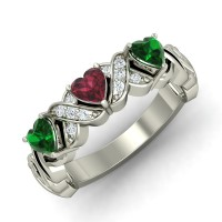 Ruby Emerald Diamond Rings 0.06 Ct Natural Certified Solid Gold Everyday