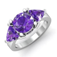 Amethyst Gold Diamond Rings Ct Natural Certified Office Wear