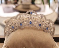 21.42ct NATURAL DIAMOND SAPPHIRE 14K WHITE GOLD WEDDING ANNIVERSARY TIARA