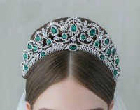 17.64CT NATURAL DIAMOND 14K WHITE GOLD EMERALD WEDDING ANNIVERSARY CROWN TIARA
