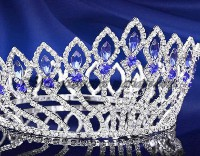 12.40ctNATURAL DIAMOND SAPPHIRE 14K WHITE GOLD WEDDING ANNIVERSARY TIARA CROWN