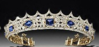 15.06ct NATURAL DIAMONDSAPPHIRE 14K YELLOW GOLD WEDDING ANNIVERSARY TIARA CROWN