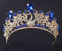 10.70ct NATURAL DIAMOND SAPPHIRE 14K YELLOW GOLD WEDDING ANNIVERSARY TIARA CROWN