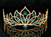 13.36ct NATURAL DIAMOND EMERALD 14K YELLOW GOLD WEDDING ANNIVERSARY TIARA CROWN