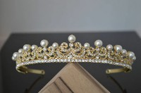 8.70ct NATURAL DIAMOND PEARL 14K YELLOW GOLD WEDDING ANNIVERSARY TIARA CROWN