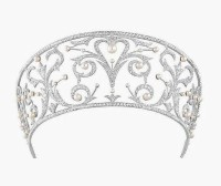 10.50CT NATURAL DIAMOND 14K WHITE GOLD PEARL WEDDING ANNIVERSARY CROWN TIARA