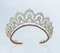 18.12ct NATURAL DIAMOND PEARL 14K WHITE GOLD WEDDING ANNIVERSARY TIARA CROWN