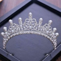 9.00ct NATURAL DIAMOND PEARL 14K WHITE GOLD WEDDING ANNIVERSARY CROWN TIARA