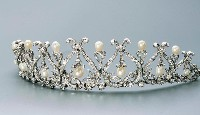 9.70ct NATURAL DIAMOND PEARL 14K WHITE GOLD WEDDING ANNIVERSARY TIARA CROWN