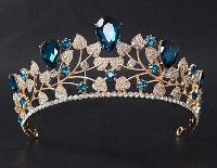 11.72ct NATURAL DIAMOND 14K YELLOW GOLD BLUE SAPPHIRE WEDDING ANNIVERSARY TIARA