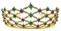10.52CT NATURAL DIAMOND 14KL YELLOW GOLD EMERALD SAPPHIRE WEDDING TIARA
