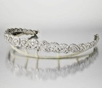 10.40CT NATURAL DIAMOND 14K WHITE GOLD WEDDING ANNIVERSARY CROWN TIARA