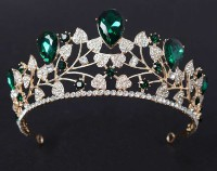 11.70ctw NATURAL DIAMOND EMERALD 14K YELLOW GOLD WEDDING ANNIVERSARY TIARA CROWN