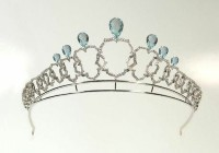 9.00CT NATURAL DIAMOND 14K WHITE GOLD BLUE TOPAZ WEDDING ANNIVERSARY CROWN TIARA