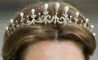 8.50CT NATURAL DIAMOND 14K WHITE GOLD PEARL WEDDING ANNIVERSARY TIARA CROWN