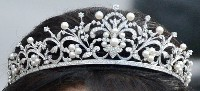 8.10CT NATURAL DIAMOND 14K WHITE GOLD PEARL WEDDING ANNIVERSARY TIARA CROWN