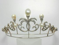 8.70CT NATURAL DIAMOND 14K YELLOW GOLD PEARL WEDDING ANNIVERSARY CROWN TIARA