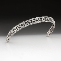 8.64ct NATURAL DIAMOND 14K WHITE GOLD WEDDING ANNIVERSARY TIARA CROWN