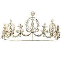 8.00ct NATURAL DIAMOND PEARL 14K YELLOW GOLD WEDDING ANNIVERSARY TIARA CROWN