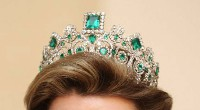 12.80ctw NATURAL DIAMOND EMERALD 14K WHITE GOLD WEDDING ANNIVERSARY TIARA CROWN