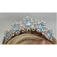7.20CT NATURAL DIAMOND 14K WHITE GOLD BLUE TOPAZ WEDDING ANNIVERSARY CROWN TIARA