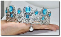 BRIDAL/WEDDING 8.40ct ROUND DIAMOND,14k WHITE GOLD & BLUE TOPAZ TIARA FOR BRIDE