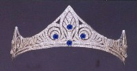 12.50ct NATURAL DIAMOND REAL SAPPHIRE 14K WHITE GOLD WEDDING ANNIVERSARY TIARA