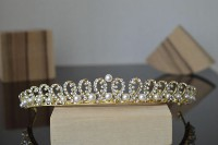 6.60CT NATURAL DIAMOND 14K YELLOW GOLD PEARL WEDDING ANNIVERSARY CROWN TIARA