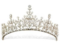 7.32ctw NATURAL DIAMOND PEARL 14K WHITE GOLD WEDDING ANNIVERSARY TIARA