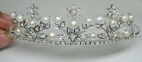 5.78ct NATURAL DIAMOND 14K WHITE GOLD WEDDING ANNIVERSARY TIARA CROWN