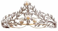 GENUINE 30.60CT ROUND DIAMOND PEARL 14K WHITE GOLD WEDDING ANNIVERSARY TIARA