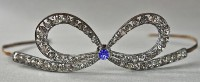 14.30 ct Rose Cut Antique Diamond Hair Jewelry Crown 925 Silver Diamond Sapphire Tiara