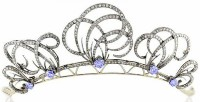 5.38ct Rose Cut Diamond Hair Jewelry Crown Sterling Silver Diamond Sapphire Bow Tiara