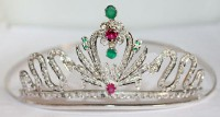 8.66ctw ROSE CUT DIAMOND SAPPHIRE ANTIQUE VICTORIAN LOOK 925 SILVER HAIR TIARA