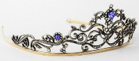 7.20cts ROSE CUT DIAMOND SAPPHIRE ANTIQUE VICTORIAN LOOK 925 SILVER HAIR TIARA